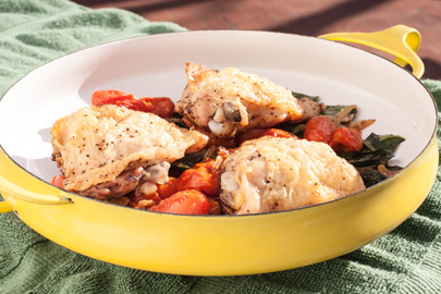 Roast Chicken Thighs with Nutrient Rich Greens